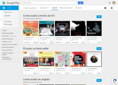 Google Play Livres, livres audios
