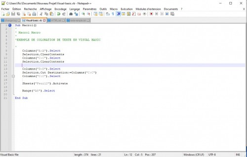 Notepad++ coloration syntaxique