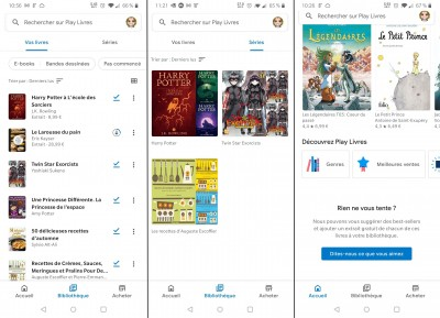 Google Play Livres, application mobile