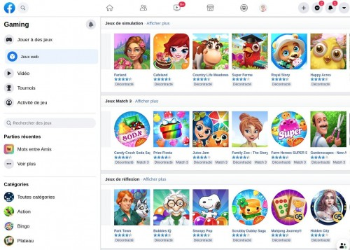 Facebook Gaming Interface Jeux
