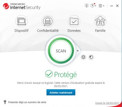 Trend Micro Internet Security Interface d'accueil