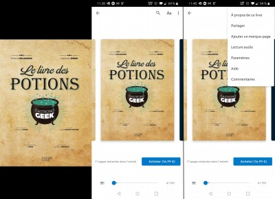 Google Play Livres, lecture via l'application mobile